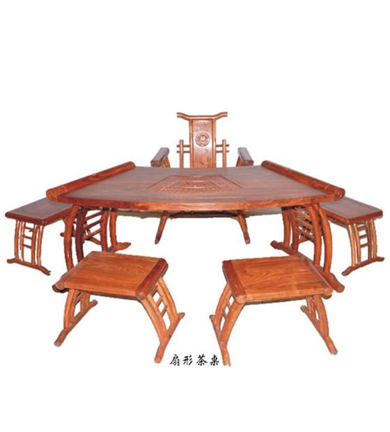 花梨木,扇形茶桌,六件套