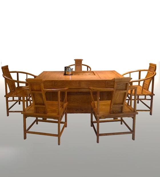 花梨腰鼓形茶桌