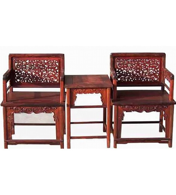 大红酸枝玫瑰椅三件套
