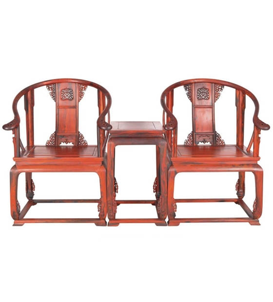 大红酸枝透雕皇宫圈椅三件套