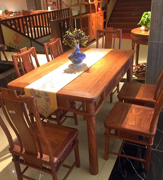 红木新中式餐台