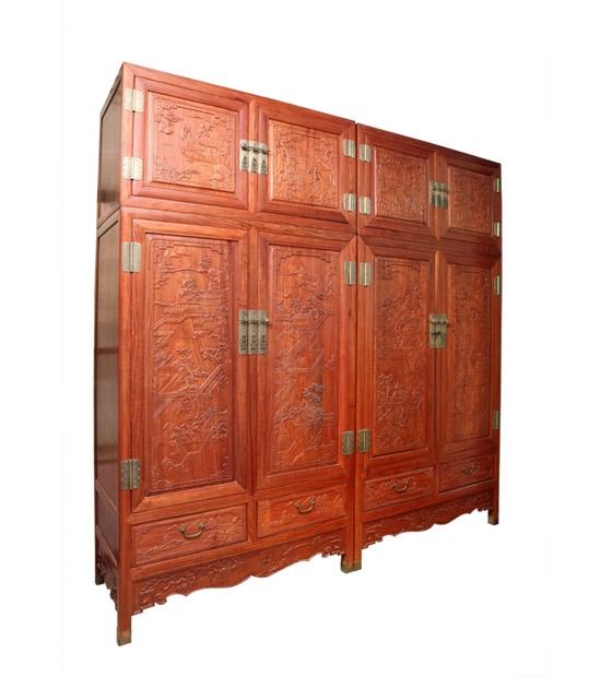 东南亚花梨山水顶箱柜