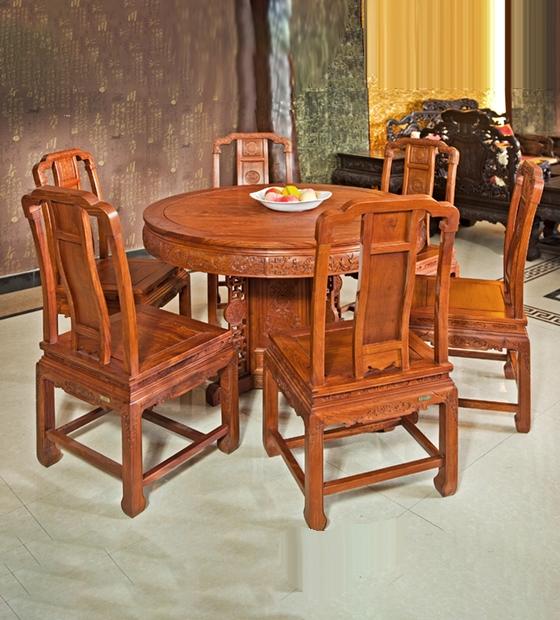 国色天香红木圆餐台