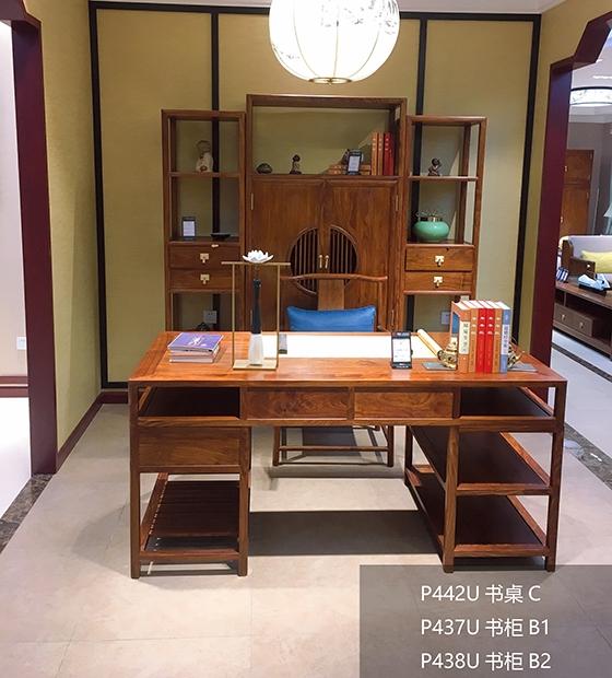 红木书桌书柜