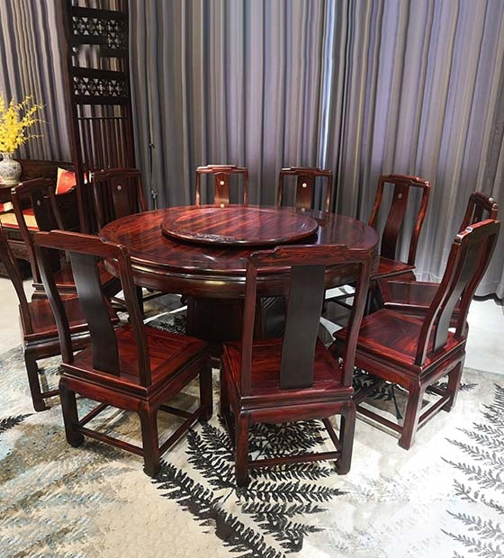 大理餐厅红木圆台
